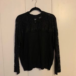 Joseph A. Black Knit & Lace Sweater
